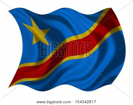 DR Congo national official flag. African patriotic symbol banner element background. Correct color. Flag of Democratic Republic of the Congo wavy isolated on white fabric texture 3D illustration