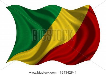 Congo Republic national official flag. African patriotic symbol banner element background. Correct colors. Flag of Republic of the Congo wavy isolated on white real fabric texture 3D illustration