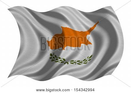 Cypriot national official flag. Patriotic symbol banner element background. Correct colors. Flag of Cyprus with real detailed fabric texture wavy isolated on white 3D illustration