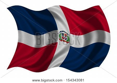 Dominican Republic national official flag. Patriotic symbol banner element background. Correct colors. Flag of Dominican Republic with detailed fabric texture wavy isolated on white 3D illustration