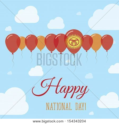Kyrgyzstan National Day Flat Patriotic Poster. Row Of Balloons In Colors Of The Kirghiz Flag. Happy