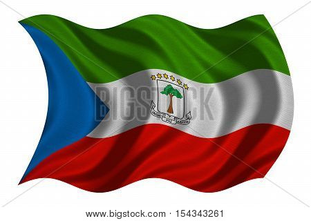 Equatorial Guinean national official flag. African patriotic symbol banner element background. Correct colors. Flag of Equatorial Guinea wavy isolated on white real fabric texture 3D illustration