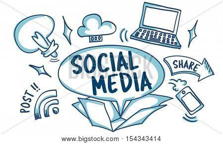 Social Media Viral Ideas Outside Box Sketch Concept