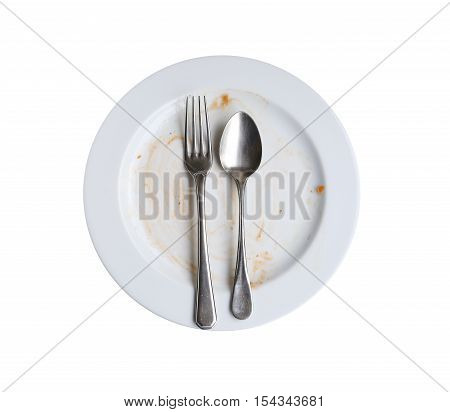 use of plate after finished eating isolated on white background.