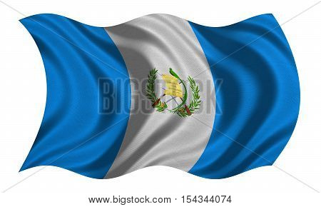 Guatemalan national official flag. Patriotic symbol banner element background. Correct colors. Flag of Guatemala with real detailed fabric texture wavy isolated on white 3D illustration