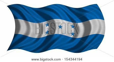 Honduran national official flag. Republic of Honduras patriotic symbol banner element background. Correct color. Flag of Honduras with detailed fabric texture wavy isolated on white 3D illustration