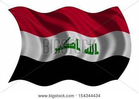 Iraqi national official flag. Irak patriotic symbol element background. Iraki banner. Correct colors. Flag of Iraq with real detailed fabric texture wavy isolated on white 3D illustration