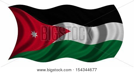 Jordan national official flag. Patriotic symbol banner element background. Correct colors. Flag of Jordan with real detailed fabric texture wavy isolated on white 3D illustration