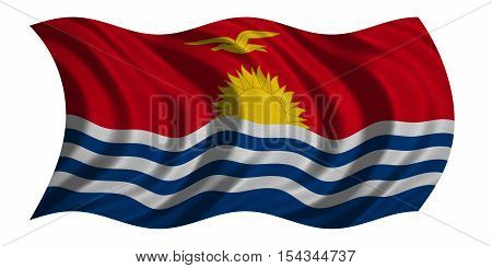 Kiribati national official flag. Patriotic symbol banner element background. Correct colors. Flag of Kiribati with real detailed fabric texture wavy isolated on white 3D illustration