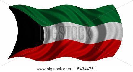 Kuwait national official flag. Patriotic symbol banner element background. Correct colors. Flag of Kuwait with real detailed fabric texture wavy isolated on white 3D illustration