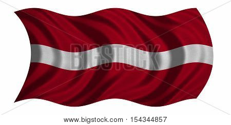 Latvian national official flag. Patriotic symbol banner element background. Correct colors. Flag of Latvia with real detailed fabric texture wavy isolated on white 3D illustration