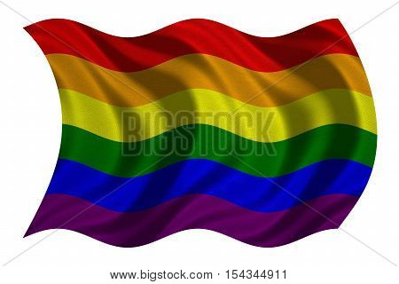 Rainbow gay pride flag. Symbol of LGBT movement. Gay banner element background. Correct colors. Rainbow flag with real detailed fabric texture wavy isolated on white 3D illustration