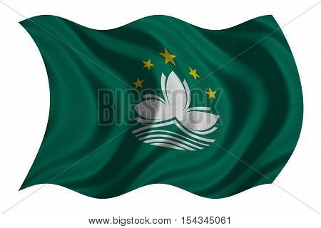 Macanese official flag. Patriotic chinese symbol banner element background. Macau is special region of PRC. Correct colors. Flag of Macau wavy isolated on white real fabric texture 3D illustration