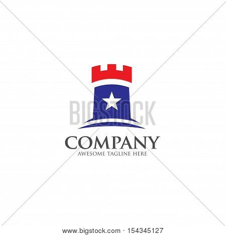 castle vector logo concept in flat style design. Abstract tower of castle and star vector illustration.