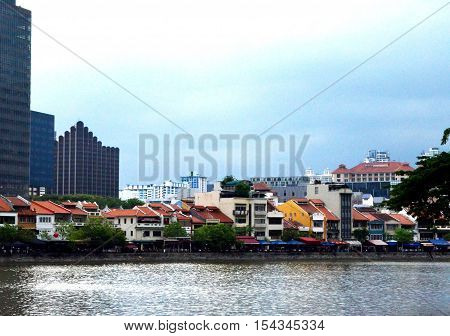 Cityscape of house and building among the cannel