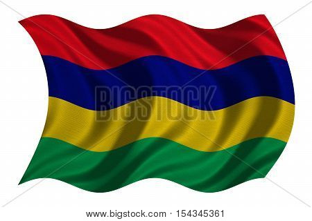 Mauritian national official flag. African patriotic symbol banner element background. Correct colors. Flag of Mauritius with real detailed fabric texture wavy isolated on white 3D illustration