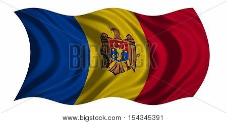 Moldovan national official flag. Patriotic symbol banner element background. Correct colors. Flag of Moldova with real detailed fabric texture wavy isolated on white 3D illustration