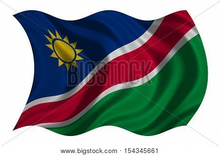 Namibian national official flag. African patriotic symbol banner element background. Correct colors. Flag of Namibia with real detailed fabric texture wavy isolated on white 3D illustration
