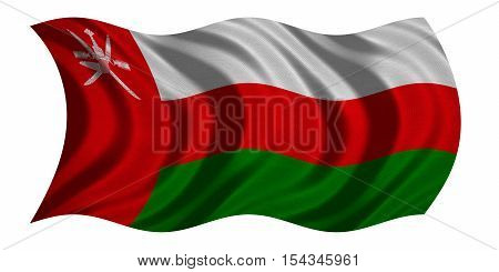 Omani national official flag. Patriotic symbol banner element background. Correct colors. Flag of Oman with real detailed fabric texture wavy isolated on white 3D illustration