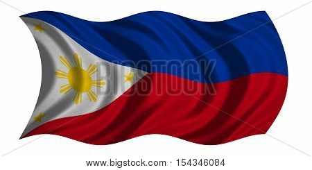 Philippine national official flag. Patriotic symbol banner element background. Correct colors. Flag of the Philippines with real detailed fabric texture wavy isolated on white 3D illustration
