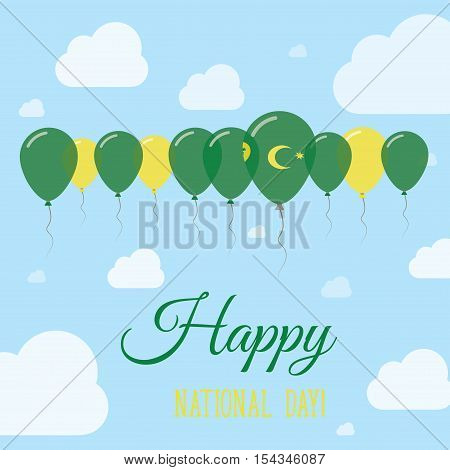 Cocos (keeling) Islands National Day Flat Patriotic Poster. Row Of Balloons In Colors Of The Cocos I