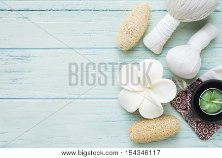 spa theme object on wood background, top view