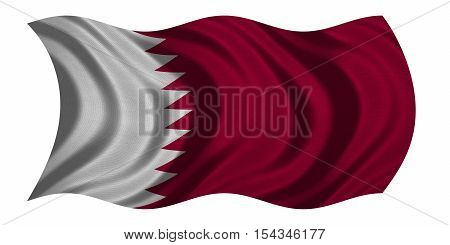 Qatari national official flag. Patriotic symbol banner element background. Correct colors. Flag of Qatar with real detailed fabric texture wavy isolated on white 3D illustration