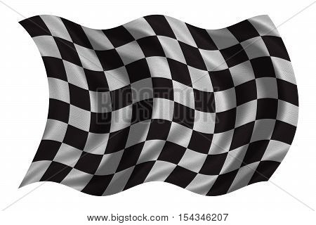 Checkered racing flag. Symbolic design of end of car race. Black and white background. Checkered flag with real detailed fabric texture wavy isolated on white 3D illustration