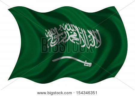 Saudi Arabian national official flag. Patriotic symbol banner element background. Correct colors. Flag of Saudi Arabia with real detailed fabric texture wavy isolated on white 3D illustration