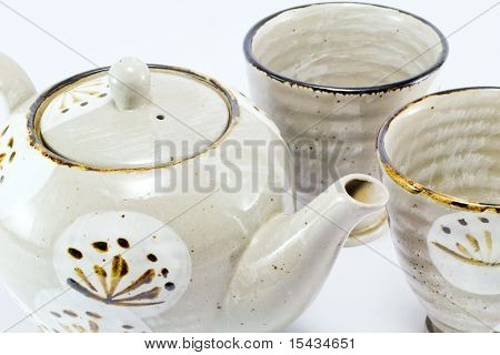 teapot and tea cups on white background