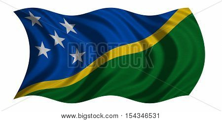 Solomon Island national official flag. Patriotic symbol banner element background. Correct colors. Flag of Solomon Islands with real detailed fabric texture wavy isolated on white 3D illustration