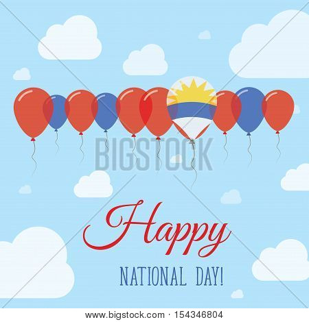 Antigua And Barbuda National Day Flat Patriotic Poster. Row Of Balloons In Colors Of The Antiguan, B