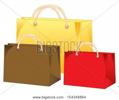 Three varicoloured empty bags on white background is insulated