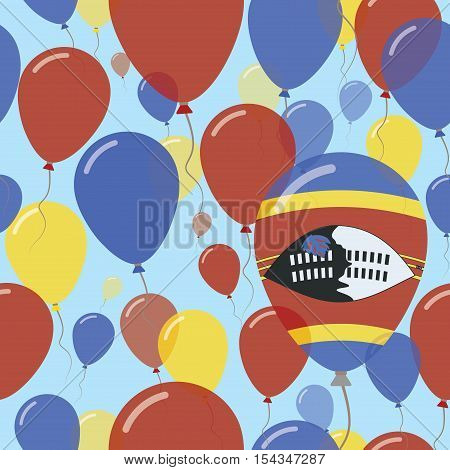 Swaziland National Day Flat Seamless Pattern. Flying Celebration Balloons In Colors Of Swazi Flag. H