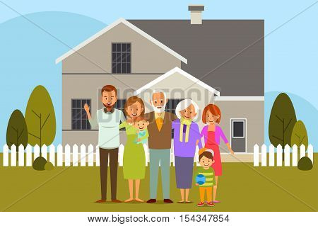 A vector illustration of Multi Generation Family in Front of a House