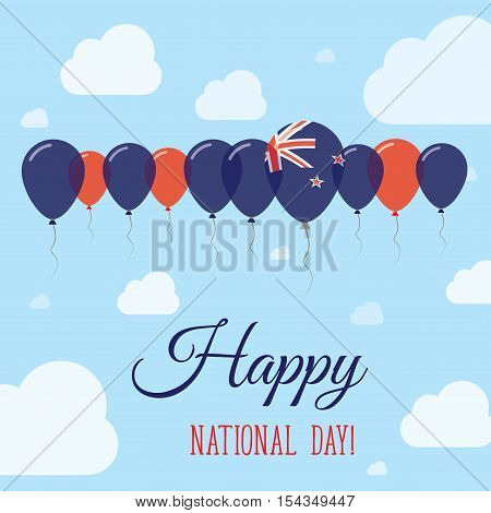 New Zealand National Day Flat Patriotic Poster. Row Of Balloons In Colors Of The New Zealander Flag.