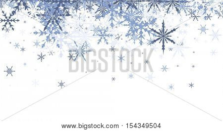 White winter background with blue snowflakes. Vector illustration.