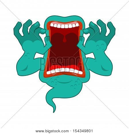 Hungry Ghost. Scary Ghost Spook. Horrible Ghost Frightening Screams. Phasing White Monster With An O