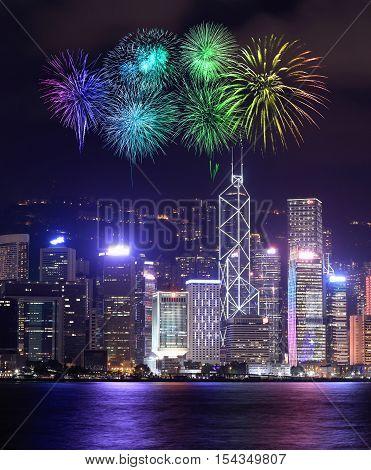 Fireworks Festival Over Hong Kong City