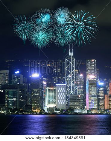 Fireworks Festival Over Hong Kong City