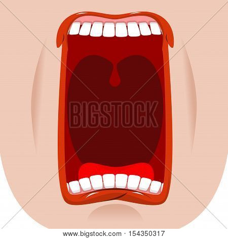 Open Mouth Facial. Teeth And Tongue. Hunger. Yawns On White Background. Lips And Throat