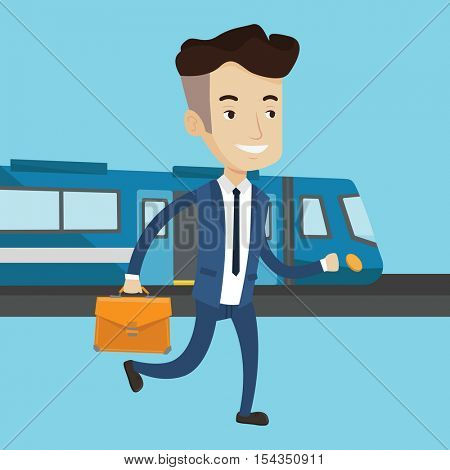 Young caucasian businessman walking on the train platform on the background of train. Man going out of train. Happy businessman at the train station. Vector flat design illustration. Square layout.