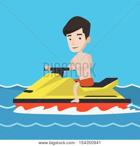 Caucasian man on jet ski in the sea at summer sunny day. Young man on a water scooter. Man riding on a water scooter. Excited man training on a jet ski. Vector flat design illustration. Square layout.