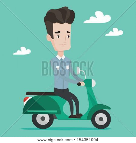 Young caucasian man riding a scooter outdoor. Smiling man driving a scooter. Happy man enjoying his trip on a scooter. Man traveling on a scooter. Vector flat design illustration. Square layout.