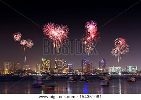 Fireworks Over Pattaya Beach At Night, Chonburi, Thailand