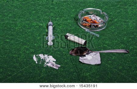 Drugs addict activities and some used tools