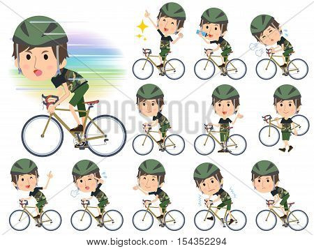 Set of various poses of Camouflage T-shirt half pants men ride on rode bicycle
