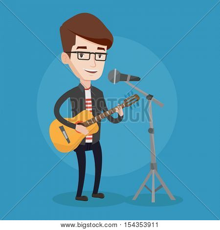 Caucasian man playing guitar. Guitar player singing song and playing an acoustic guitar. Singer singing into a microphone and playing an acoustic guitar. Vector flat design illustration. Square layout