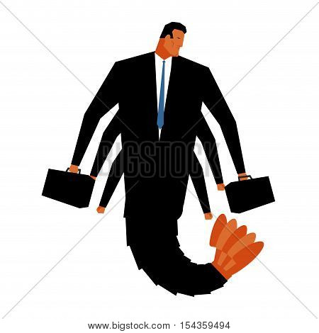 Office Plankton. Man Shrimp In Black Suit . Pagurian Manager With Briefcase