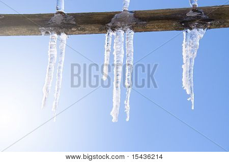 Icicles Over Blue Sky